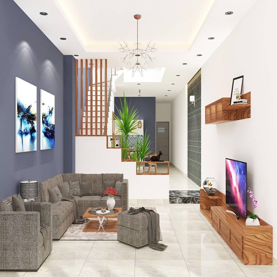 15 cách bố trí phòng khách nhà ống 4m có cầu thang hiện đại đẹp nhất 2021