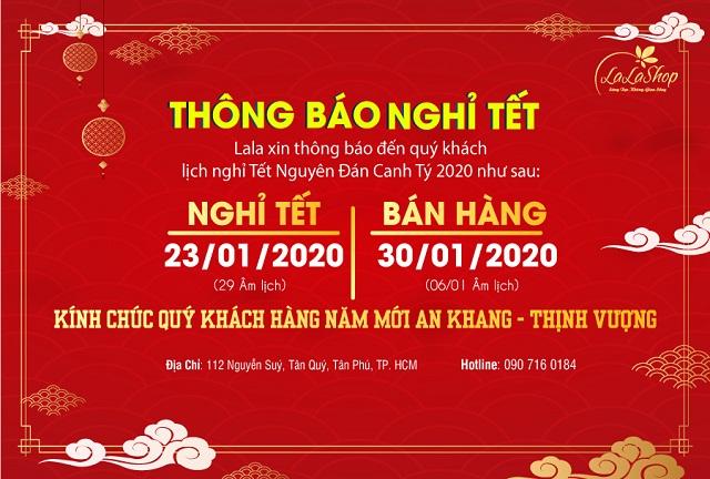 Lala thông báo lịch nghỉ Tết Nguyên Đán Canh Tý 2020