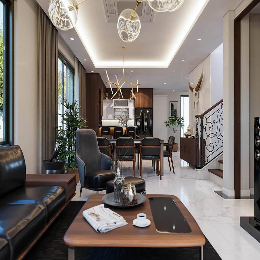 15 cách bố trí phòng khách nhà ống 5m có cầu thang hiện đại đẹp nhất 2021