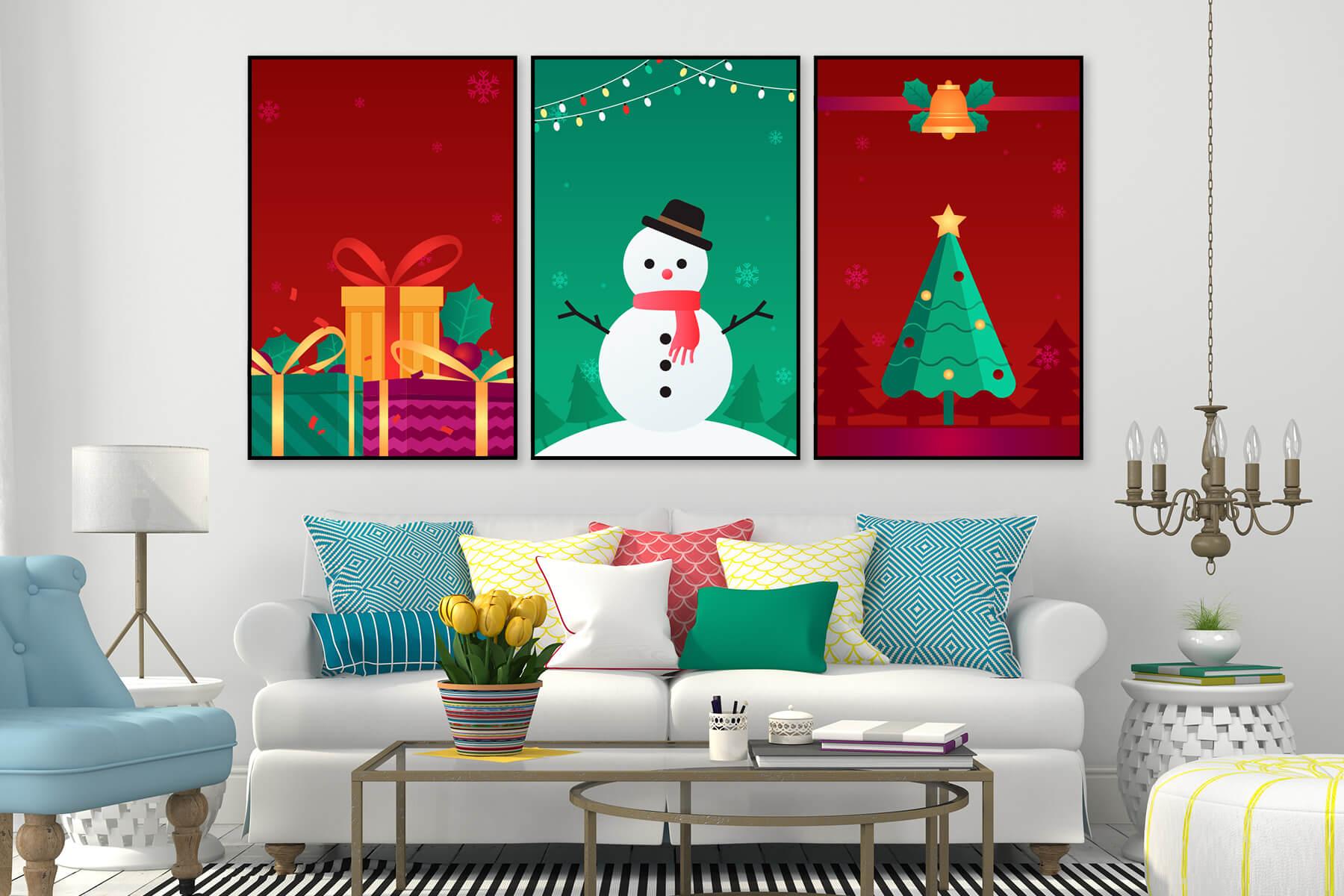 Tranh treo tường cây thông và người tuyết Noel