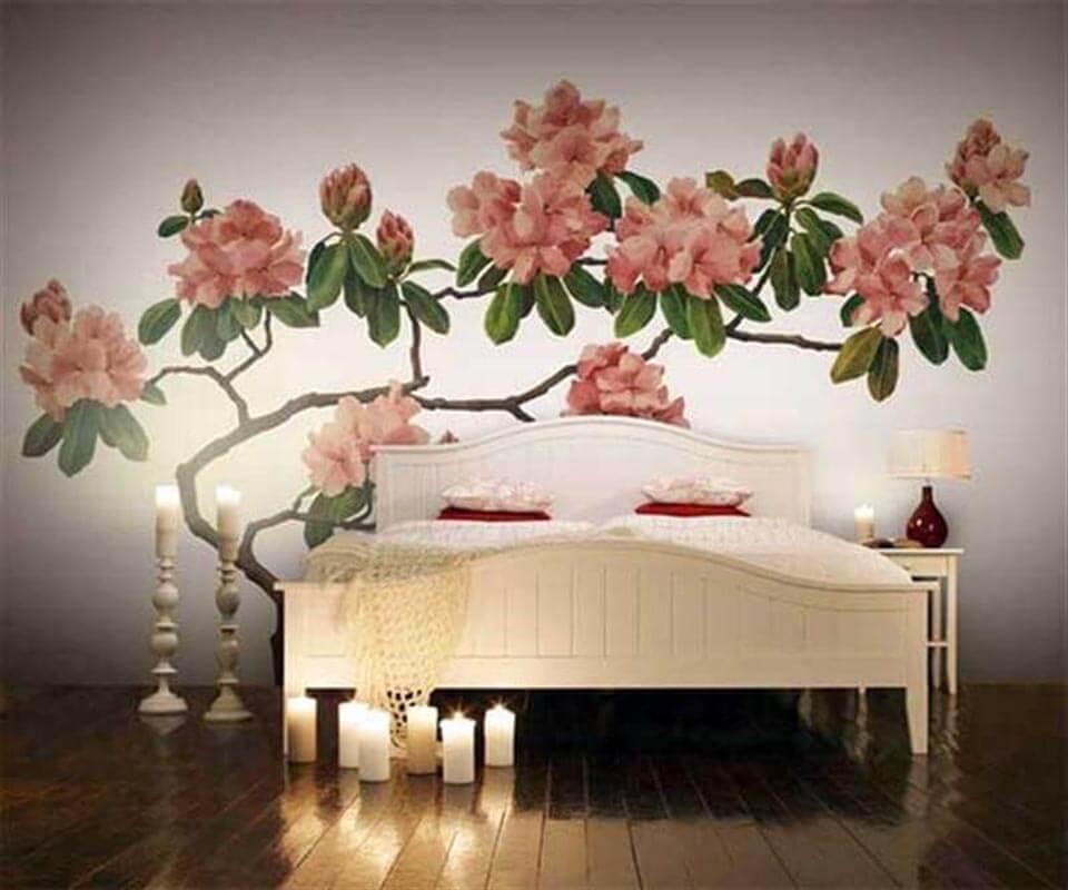 Tranh vẽ tường cành hoa