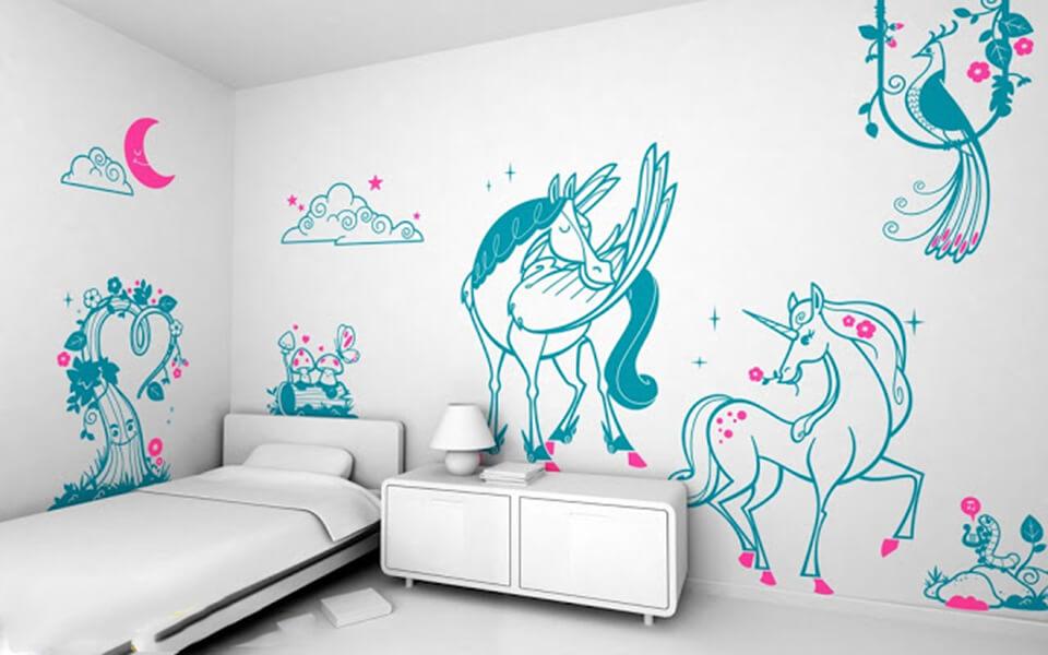 Tranh vẽ tường phòng ngủ đơn giản