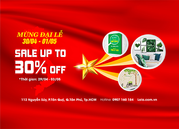 mừng đại lễ lala sale up to 30% off